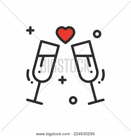 Two glasses, romantic toast line icon. Wedding sign and symbol. Binge, drink, champagne, wine. Wedding birthday holidays event greetings love theme
