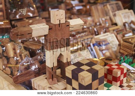 Wooden toys hand make in the market.
