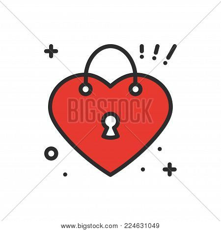 Heart lock line icon. Love sign and symbol. Love, couple, relationship, dating, wedding, holiday, romantic amour tattoo theme Heart shape