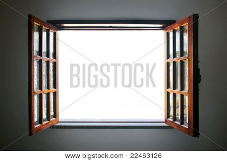 Wide open rustic wooden window with empty white space in the middle