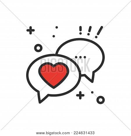 Speech bubble with heart line icon. Conversation chat dialog message. Happy Valentine day sign and symbol. Love couple relationship wedding holiday romantic amour theme