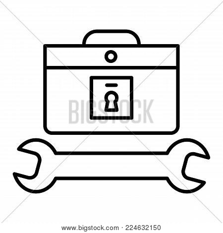 tools case icon. Repairer and master icon. Flat contour vector icon. isolated on white. Eps 10.