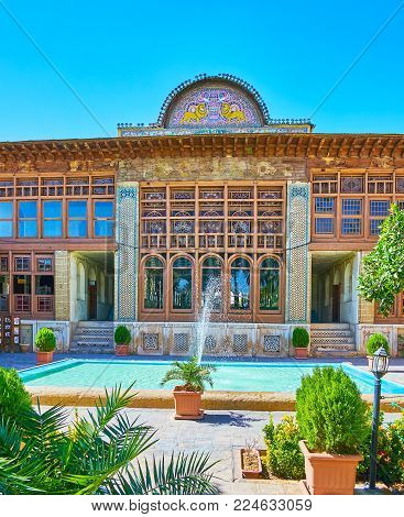 Shiraz, Iran - October 12, 2017: The Medieval Zinat Ol-molk Mansion Is Famous For Its Outstanding Ar