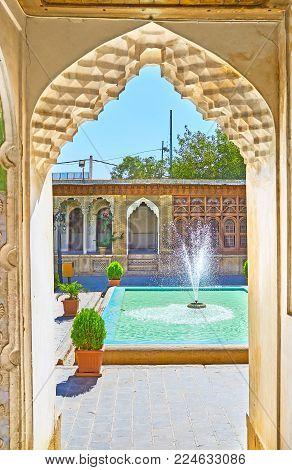 Shiraz, Iran - October 12, 2017: Discover Medieval Zinat Ol-molk Mansion With Its Qajar Era Interior