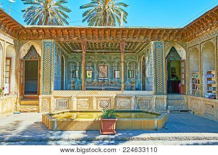 Shiraz, Iran - October 12, 2017: Zinat Ol-molk Complex Includes The Scenic Garden, Fountains, Mirror
