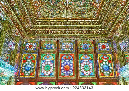 Shiraz, Iran - October 12, 2017: The Colored Stained-glass Windows In Mirror Hall Of Zinat Ol-molk -