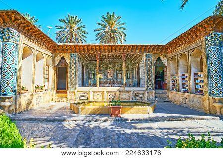 Shiraz, Iran - October 12, 2017: Panorama Of The Mirror Veranda Of Zinat Ol-molk Mansion With Comple