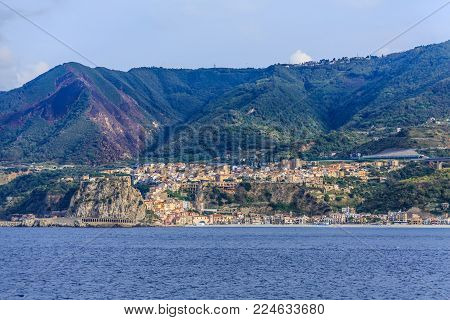 Colorful Italian Coast Near Strait of Messina