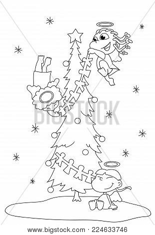 Cute cartoon angels decorating a Christmas tree coloring illustration vector