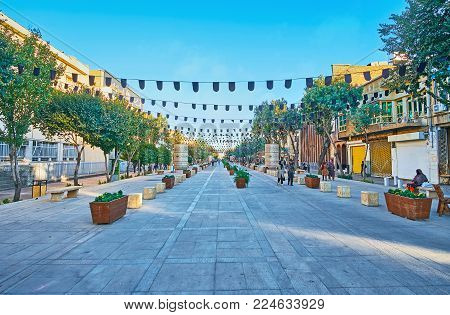 Shiraz, Iran - October 12, 2017: Zand Walk Street Is The Scenic Location With Shady Tres And Benches