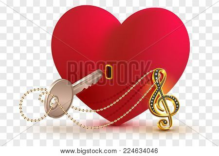 Musical treble clef key to open love heart lock shape. Isolated on transparent background vector illustration