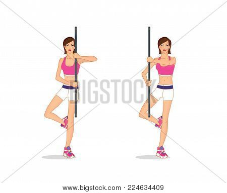 A young woman performs an exercise to strengthen the back muscles and balance standing on one leg and with a gymnastic stick in her hands. Isolated on white background.