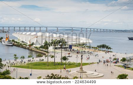 Rio de Janeiro, Brazil - Jan 11, 2018: Museu do Amanha Museum of Tomorrow inagurated in 2014 is located in Maua Square, Rio de Janeiro, Brazil