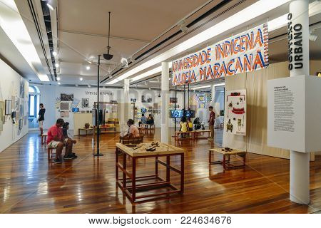 Rio de Janeiro, Brazil - Jan 11, 2018: Inside the Rio Art Museum in downtown Rio de Janeiro. Exhibition on history of the local and national native indigenous population