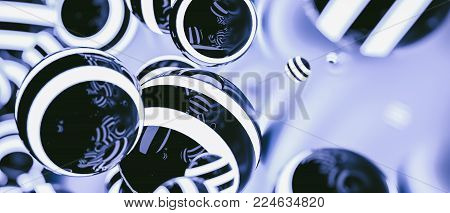 Abstract Striped Glowing Balls In Dark Space