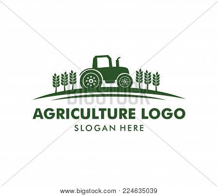 Vector Logo Design For Agriculture, Agronomy, Wheat Farm, Rural Country Farming Field, Natural Harve