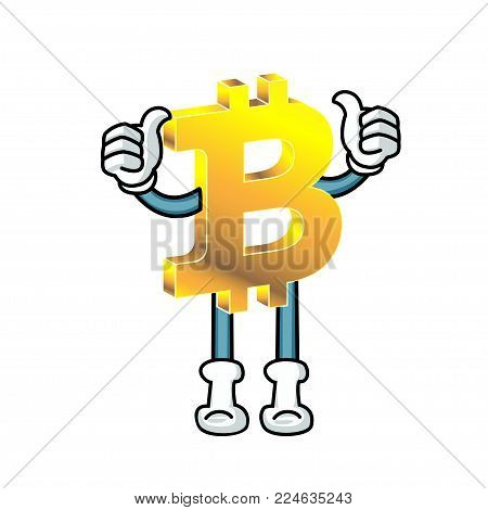A bitcoin character stand with thumps up. White background.