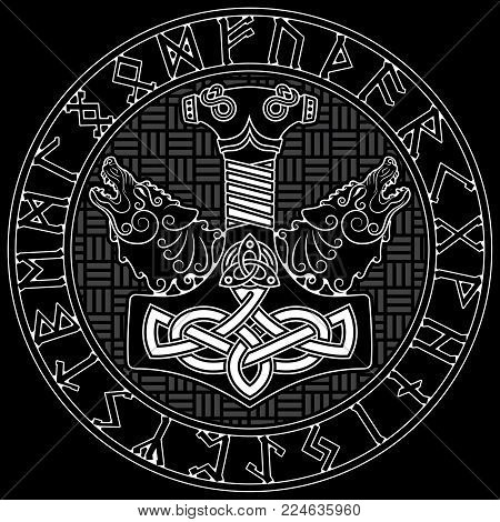 Thor s hammer - Mjollnir, Scandinavian runes ornament and two wolfs, isolated on white, vector illustration