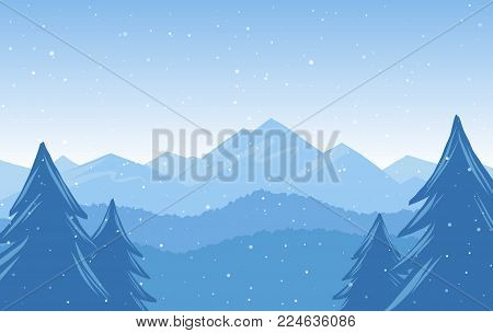 Vector illustration: Winter Hand Drawn Mountains snowy landscape