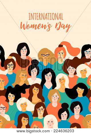 International Womens Day. Vector template with for card, poster, flyer and other users