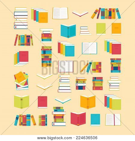 Book Icons Set In Flat Style For Your Design. School Books Background. Library, Bookstore. Education