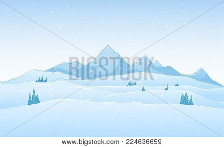 Vector hand drawn winter cold mountains landscape.