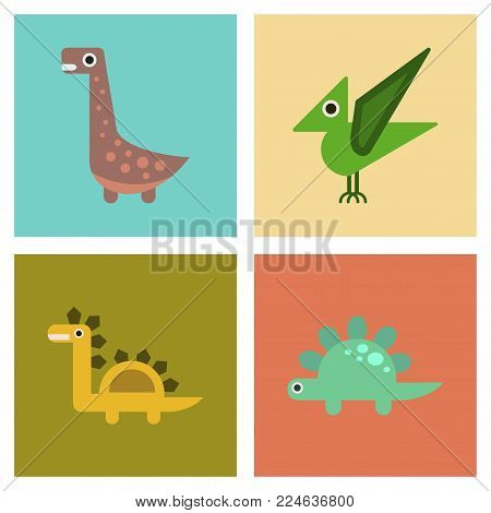 assembly of flat icons archeology cartoon dinosaur
