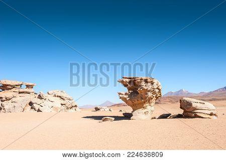 Stone tree Arbol de Piedra on the plateau Altiplano, Bolivia