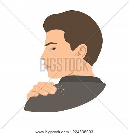 Dandruff on man shoulder. Head, hand, wrist, fingers. Side view. Close up view. Vector illustration MAn silhouette