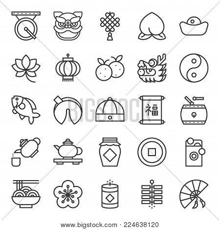 Chinese new year outline icon, fan, noodle, teapot, lion dance, dragon, gold coin, mandarin orange, cap, firecracker