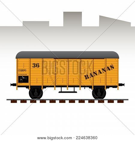 Railway cargo transport wagon detailed vector illustration. Wagon for bananas and other fruits transport.