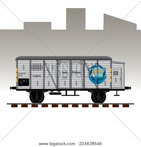 Railway cargo transport wagon detailed vector illustration. Wagon for sea fishes delivery.
