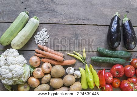 Fresh Farmers Market Vegetables. Healthy Eating. Vegetarian Food, Organic Food. Vegetables On Table