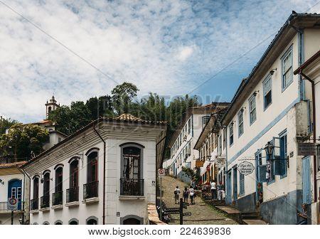 Ouro Preto, Brazil - Dec 28, 2017: Ouro Preto is a former colonial mining town in Minas Gerais, Brazil, designated a World Heritage Site by UNESCO