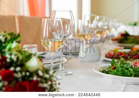 serving banquet table. Making banquet table. Wonderful holiday