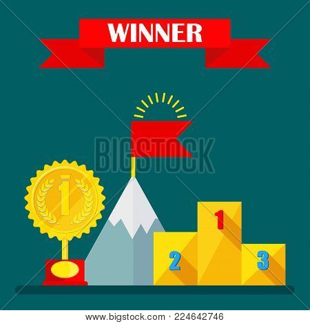 Achievement concept. Regalia of winner. Gold medal, podium of honor, torch of winner of competition. Flat vector cartoon illustration. Objects isolated on background.