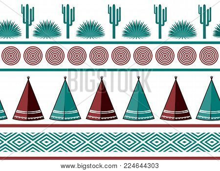 Indian tribal background. Simple flat wigwam, cactus, and ornament. Seamless pattern. Minimalist design. Cartoon illustration, vector