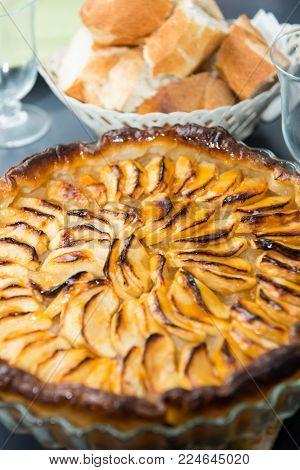 a view of homemade apple pie tart