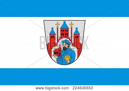 Flag of Winterberg is a town in the Hochsauerland district of North Rhine-Westphalia, Germany. Vector illustration