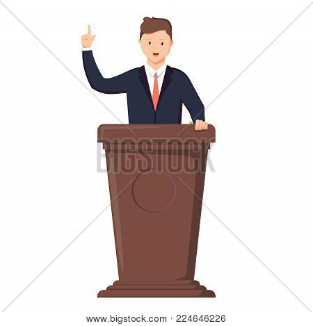 Speaker at the rostrum. The politician gives a speech at the tribune. Vector illustration in style. Candidate character in business suit on the conference making debate.