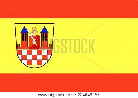Flag of Iserlohn is a city in the Maerkischer district, in North Rhine-Westphalia, Germany. Vector illustration