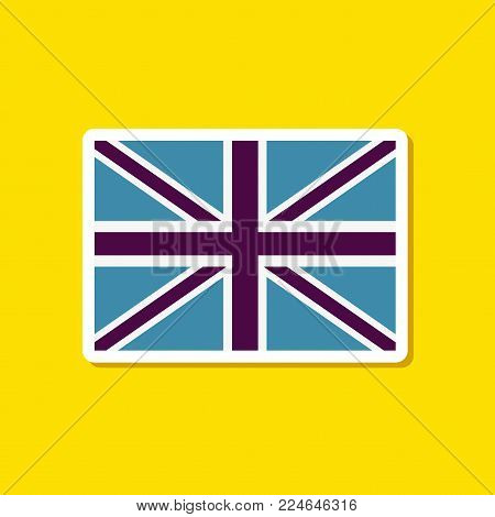 paper sticker on stylish background of Britain flag