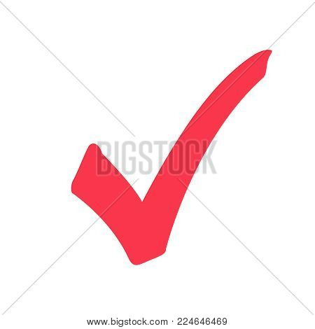 Tick icon vector symbol, marker red checkmark isolated on white background, checked icon or correct choice sign doodle or handwritten style, check mark or checkbox pictogram.