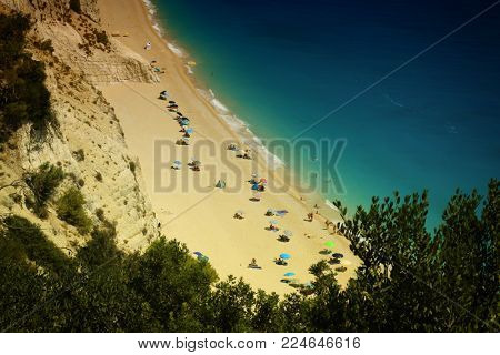 Egremni beach, Lefkada island, Greece. Large and long beach with turquoise water on the island of Lefkada
