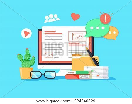 Blogging concept illustration. Idea of writing blog and making content for social media. Digital concept with media news, comments and social activity symbols