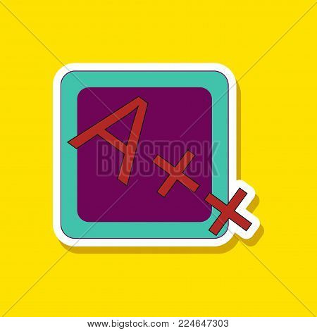 paper sticker on stylish background of exam score excellent