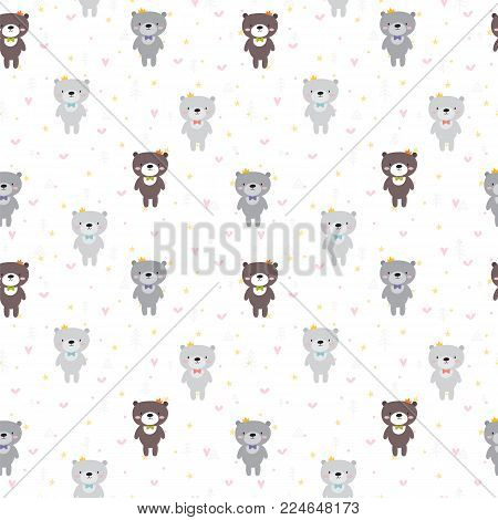 Background For Cute Little Girls. Hand Drawn Seamless Pattern For Children With Funny Animals. Doodl