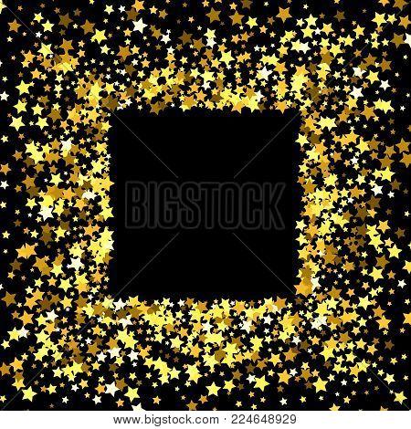 gold frame border vector.  Gold Square Gold Frame Or Border Of Random Scatter Golden Stars On Black  Background Design Element To Gold Frame Border Vector