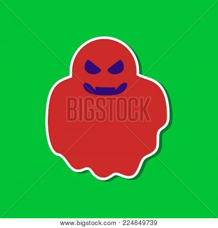paper sticker on stylish background of Halloween ghost