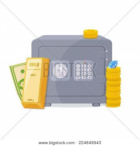 Gold bullion, a stack of coins, diamond and metal safe . Capital, banking, keeping the money concept. Vector illustration